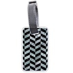 CHEVRON1 BLACK MARBLE & ICE CRYSTALS Luggage Tags (One Side)