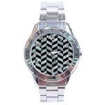 CHEVRON1 BLACK MARBLE & ICE CRYSTALS Stainless Steel Analogue Watch