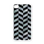 CHEVRON1 BLACK MARBLE & ICE CRYSTALS Apple iPhone 4 Case (White)