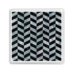 CHEVRON1 BLACK MARBLE & ICE CRYSTALS Memory Card Reader (Square)
