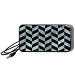 CHEVRON1 BLACK MARBLE & ICE CRYSTALS Portable Speaker