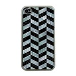 CHEVRON1 BLACK MARBLE & ICE CRYSTALS Apple iPhone 4 Case (Clear)