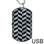 CHEVRON1 BLACK MARBLE & ICE CRYSTALS Dog Tag USB Flash (Two Sides)