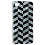 CHEVRON1 BLACK MARBLE & ICE CRYSTALS Apple iPhone 4/4s Seamless Case (White)