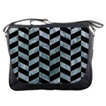 CHEVRON1 BLACK MARBLE & ICE CRYSTALS Messenger Bags