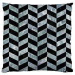 CHEVRON1 BLACK MARBLE & ICE CRYSTALS Large Cushion Case (Two Sides)