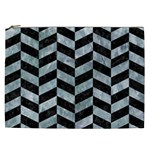 CHEVRON1 BLACK MARBLE & ICE CRYSTALS Cosmetic Bag (XXL)