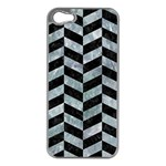 CHEVRON1 BLACK MARBLE & ICE CRYSTALS Apple iPhone 5 Case (Silver)