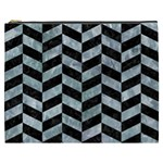 CHEVRON1 BLACK MARBLE & ICE CRYSTALS Cosmetic Bag (XXXL)