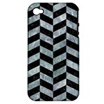 CHEVRON1 BLACK MARBLE & ICE CRYSTALS Apple iPhone 4/4S Hardshell Case (PC+Silicone)