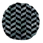 CHEVRON1 BLACK MARBLE & ICE CRYSTALS Large 18  Premium Round Cushions