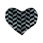 CHEVRON1 BLACK MARBLE & ICE CRYSTALS Standard 16  Premium Heart Shape Cushions