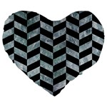 CHEVRON1 BLACK MARBLE & ICE CRYSTALS Large 19  Premium Heart Shape Cushions
