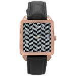 CHEVRON1 BLACK MARBLE & ICE CRYSTALS Rose Gold Leather Watch