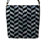 CHEVRON1 BLACK MARBLE & ICE CRYSTALS Flap Messenger Bag (L)