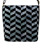 CHEVRON1 BLACK MARBLE & ICE CRYSTALS Flap Messenger Bag (S)