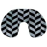 CHEVRON1 BLACK MARBLE & ICE CRYSTALS Travel Neck Pillows