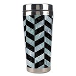 CHEVRON1 BLACK MARBLE & ICE CRYSTALS Stainless Steel Travel Tumblers