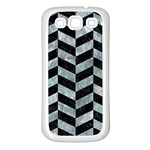 CHEVRON1 BLACK MARBLE & ICE CRYSTALS Samsung Galaxy S3 Back Case (White)