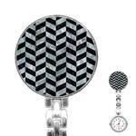 CHEVRON1 BLACK MARBLE & ICE CRYSTALS Stainless Steel Nurses Watch