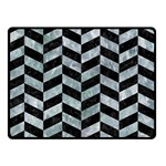 CHEVRON1 BLACK MARBLE & ICE CRYSTALS Double Sided Fleece Blanket (Small)