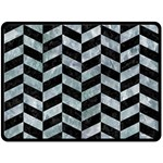 CHEVRON1 BLACK MARBLE & ICE CRYSTALS Double Sided Fleece Blanket (Large)