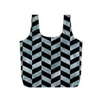 CHEVRON1 BLACK MARBLE & ICE CRYSTALS Full Print Recycle Bags (S)