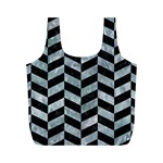 CHEVRON1 BLACK MARBLE & ICE CRYSTALS Full Print Recycle Bags (M)
