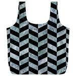 CHEVRON1 BLACK MARBLE & ICE CRYSTALS Full Print Recycle Bags (L)