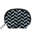 CHEVRON1 BLACK MARBLE & ICE CRYSTALS Accessory Pouches (Small)