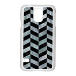 CHEVRON1 BLACK MARBLE & ICE CRYSTALS Samsung Galaxy S5 Case (White)