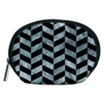 CHEVRON1 BLACK MARBLE & ICE CRYSTALS Accessory Pouches (Medium)
