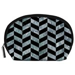 CHEVRON1 BLACK MARBLE & ICE CRYSTALS Accessory Pouches (Large)