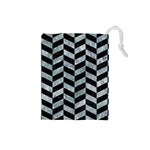 CHEVRON1 BLACK MARBLE & ICE CRYSTALS Drawstring Pouches (Small)