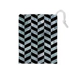 CHEVRON1 BLACK MARBLE & ICE CRYSTALS Drawstring Pouches (Medium)