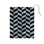 CHEVRON1 BLACK MARBLE & ICE CRYSTALS Drawstring Pouches (Large)