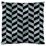 CHEVRON1 BLACK MARBLE & ICE CRYSTALS Large Flano Cushion Case (One Side)