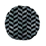 CHEVRON1 BLACK MARBLE & ICE CRYSTALS Standard 15  Premium Flano Round Cushions
