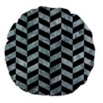 CHEVRON1 BLACK MARBLE & ICE CRYSTALS Large 18  Premium Flano Round Cushions