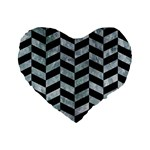 CHEVRON1 BLACK MARBLE & ICE CRYSTALS Standard 16  Premium Flano Heart Shape Cushions