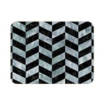 CHEVRON1 BLACK MARBLE & ICE CRYSTALS Double Sided Flano Blanket (Mini)