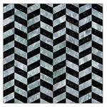 CHEVRON1 BLACK MARBLE & ICE CRYSTALS Large Satin Scarf (Square)