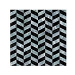CHEVRON1 BLACK MARBLE & ICE CRYSTALS Small Satin Scarf (Square)