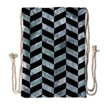 CHEVRON1 BLACK MARBLE & ICE CRYSTALS Drawstring Bag (Large)