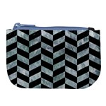CHEVRON1 BLACK MARBLE & ICE CRYSTALS Large Coin Purse
