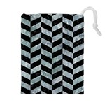 CHEVRON1 BLACK MARBLE & ICE CRYSTALS Drawstring Pouches (Extra Large)