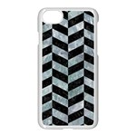CHEVRON1 BLACK MARBLE & ICE CRYSTALS Apple iPhone 7 Seamless Case (White)