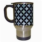 CIRCLES3 BLACK MARBLE & ICE CRYSTALS Travel Mugs (White)