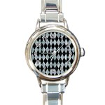DIAMOND1 BLACK MARBLE & ICE CRYSTALS Round Italian Charm Watch