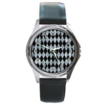 DIAMOND1 BLACK MARBLE & ICE CRYSTALS Round Metal Watch